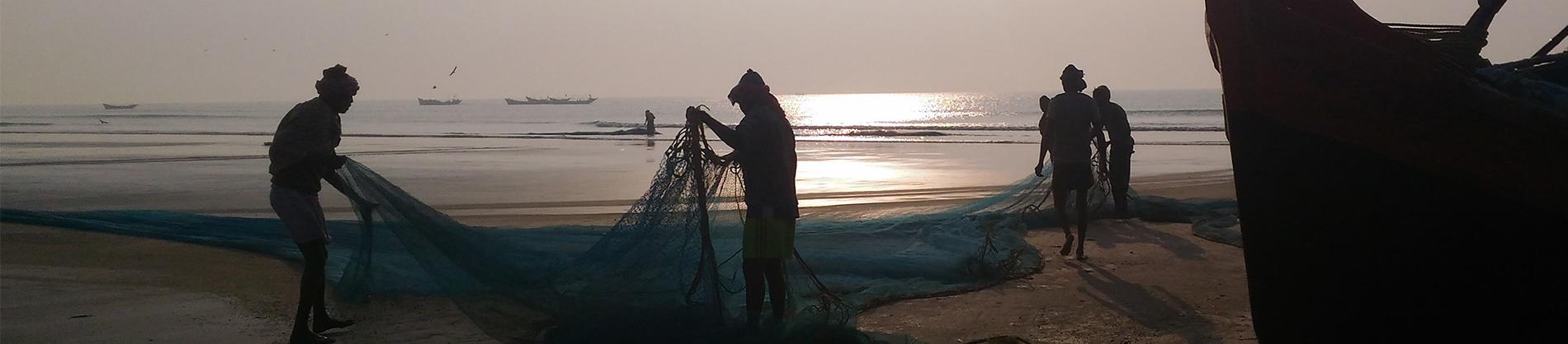 Fishermen putting out nets