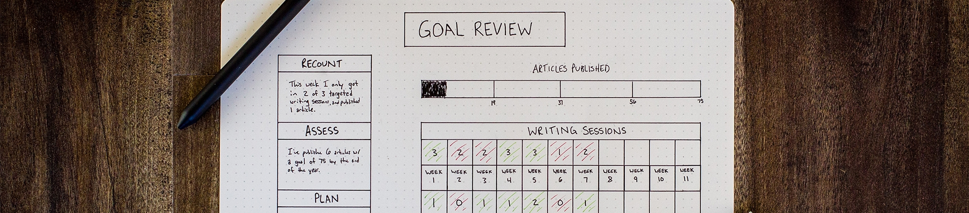 Goal review and calendar written on a piece of dotted paper