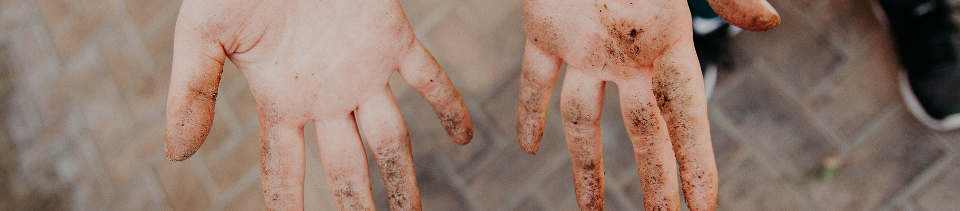 A persons hands with dirt on the fingers