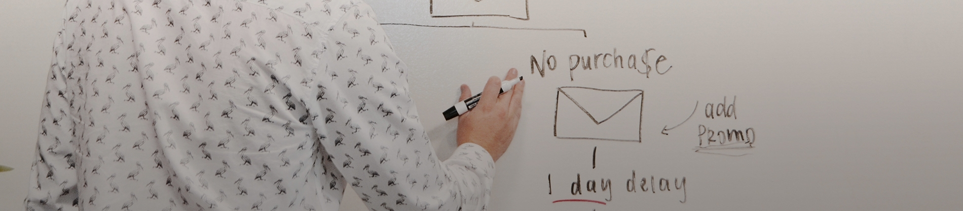 A man writing on a whiteboard