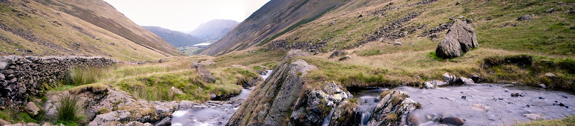 Mountain valley with a stream running through