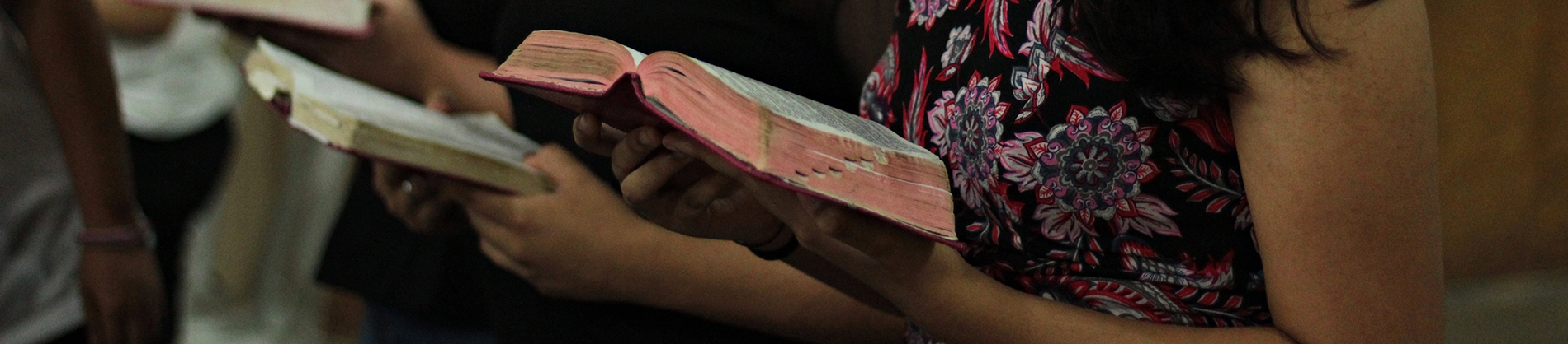 People in church holding bibles open