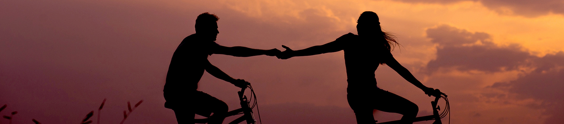 Silhouettes of two people on bikes holding hands with a sunset behind them