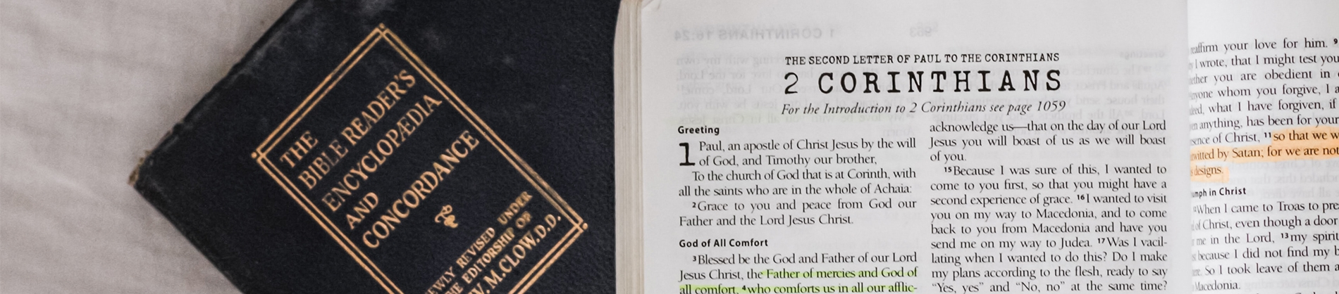 A bible Encyclopaedia and open bible