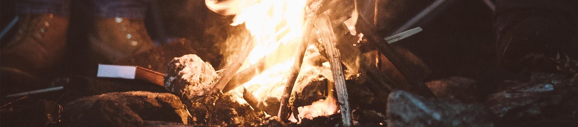 A small campfire