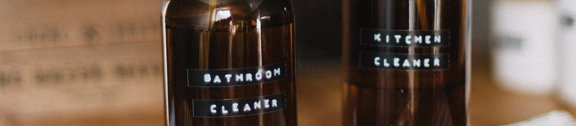 Bottles with bathroom and kitchen cleaner