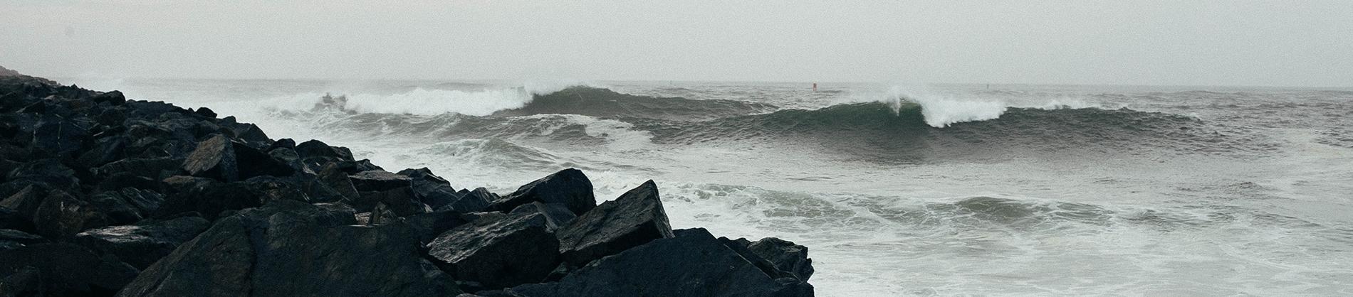 A stormy sea hitting rocks