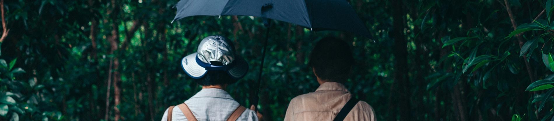 Two elderly women talking through a park with an umbrella up
