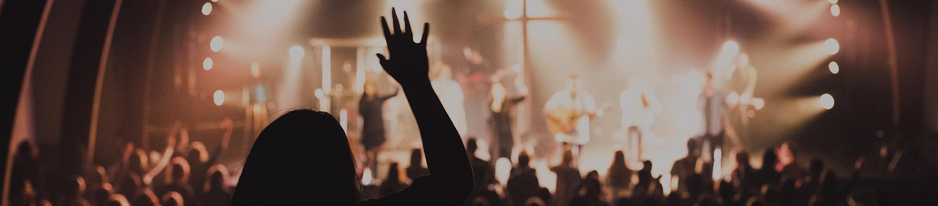 Worship band leading worship