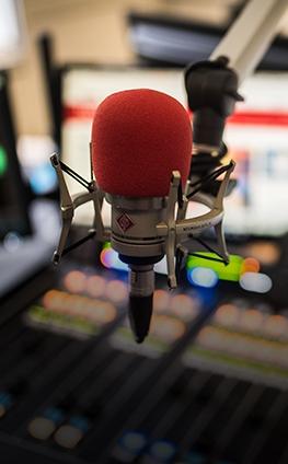Microphone in a radio studio