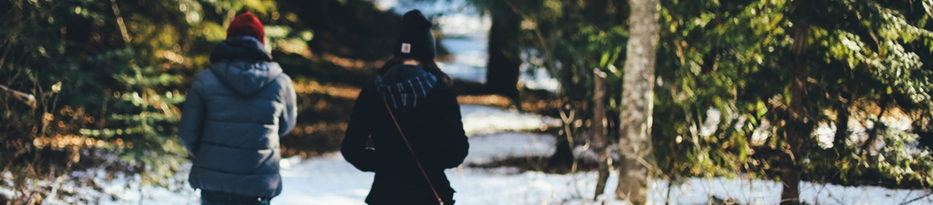 Two friends walking through a snowy forest