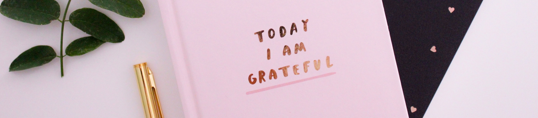 A pink notebook with the words Today I am Grateful in gold lettering on it