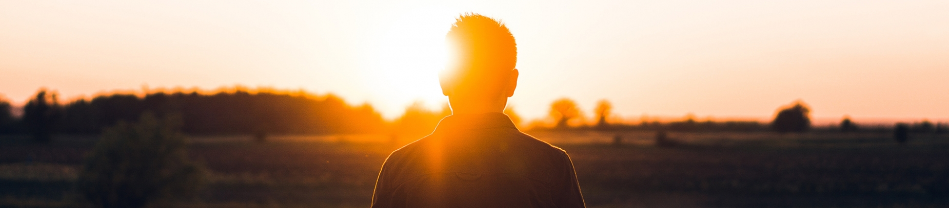 A guy stood looking into a sunset across a field