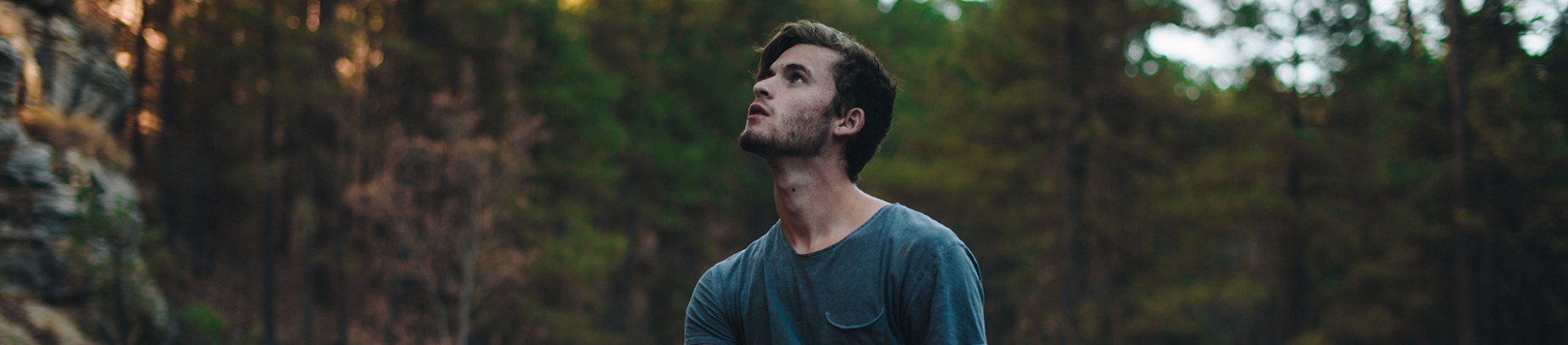 A guy looking up to the sky in the middle of a forest
