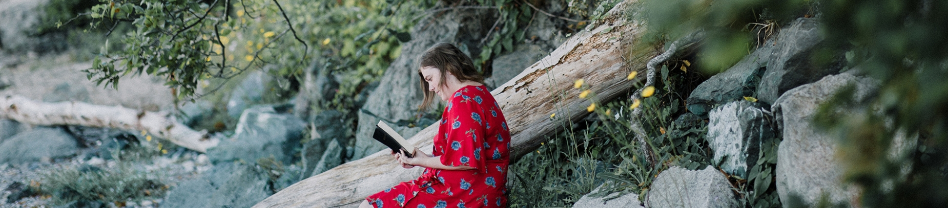 A women in a red dress sat on a rock reading her bible