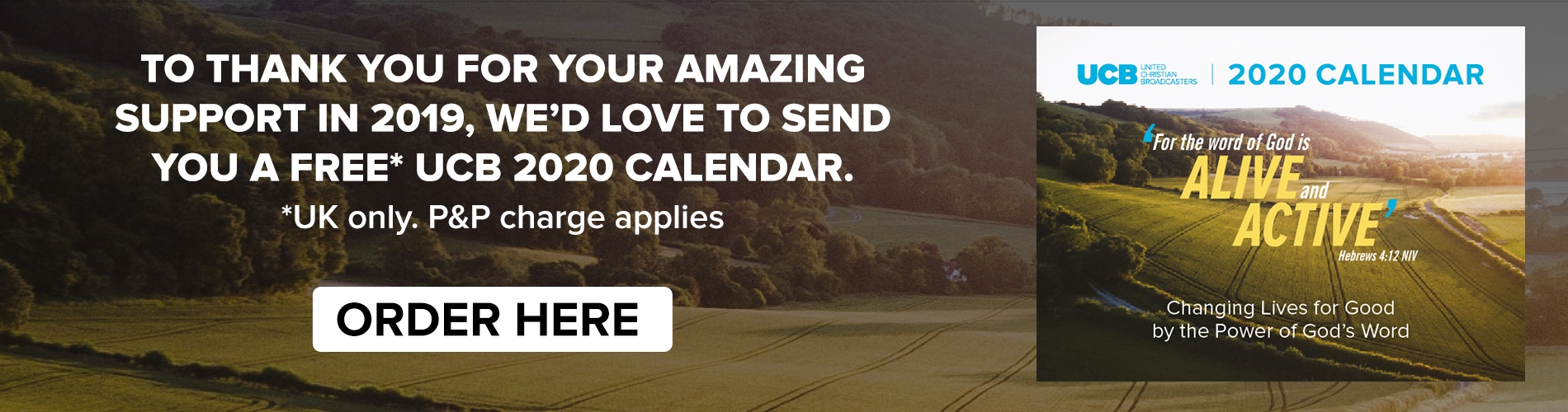 To thank you for your amazing support in 2019, we'd love to send you a free* UCB 2020 Calendar.