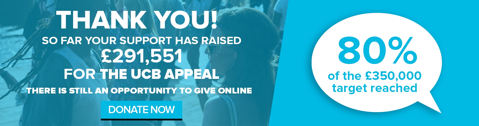 So far your support has raised £291,551 for The UCB Appeal